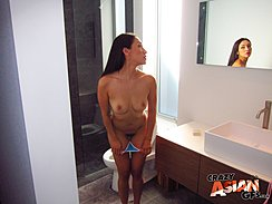 Pulling Bikini Bottoms Down Looking In Mirror Bare Breasts Long Hair