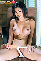 Pulling Panties Down Pert Big Breasts Holding Dildo