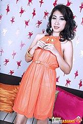 Standing In Orange Dress