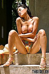 Seated On Steps Baring Nice Tits Erect Nipples Wearing Heels