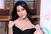 Olivia Strips Black Dress And Bares Nice Tits In High Heels