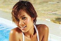 Thai Girl Lucy Cumme Strips By Pool And Plays With Dildo