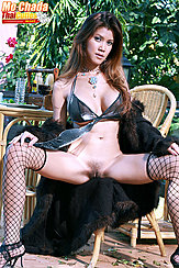 Sitting On Wicker Chair Legs Spread Showing Pussy Hands On Her Knees In Fishnet Stockings