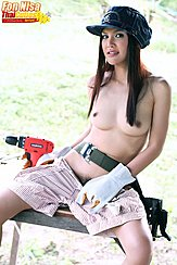 Seated Topless On Bench Long Hair Bare Breasts Pulling Shorts Down Exposing Pussy