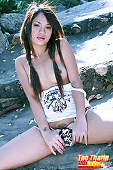 Thumbs In Shorts Exposing Trimmed Pussy Hair Pigtails Over Her Small Breasts
