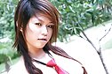 Cutie Jean Prada strips shirt and tie and reveals pert breasts