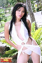Wearing White Dress Long Hair Framing Her Breasts