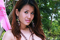Aor Chan Strips Crop Top And Thong Panties Outdoors