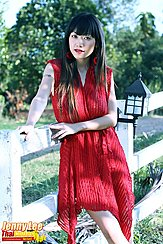 Standing Against Fence Wearing Red Dress Long Hair Over Her Shoulders