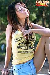 Sitting On Fence Wearing Yellow Top In Denim Shorts