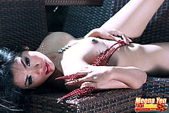 Meena Yen Lying On Her Back Naked Bare Breasts