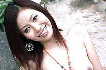 Miki Sukawa stripping white dress outdoors and posing nude