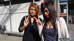 Tik And Kam Flashing Vee Signs Long Hair