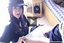 Policewoman Minie Ice Strips Suspect And Sucks His Cock